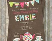 Baby Tea shower Invitation,  Printable file