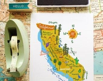 "California Illustrated 8""x10"" Map"