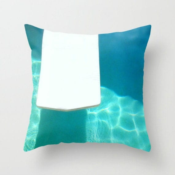 Decorative Pillow Cover Beach House Decor Aqua by BeachBumChix