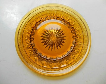 8 Park Lane Dish Plate Colony Amber Gold Indiana Glass - Vintage UNUSED