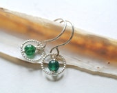 Sterling silver earrings, silver hoop and green aventurine stone