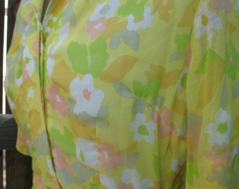 Vintage 1950's Shirt Dress by Avalon Classics Inc. Yellow and Pastel Floral Print Belted Dress