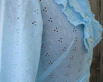 Vintage 1960's Baby Blue Eyelet Long Sleeved Ruffled and Button Down Front With Darts and Wrap Tie Waist Dress by Herman Marcus