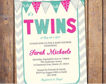 Gender neutral twins baby shower invitations, modern, chevron, fuchsia and turquoise with banner,boy girl twins (item26e)