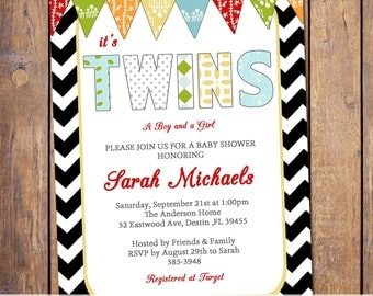 twins baby shower invitations, modern baby shower invitations, boy and girl, chevron, red green yellow with banner, gender neutral (item26b)