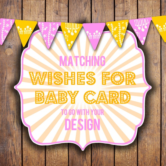 Wishes for Baby Card to match your baby shower design, digital, DIY printable file