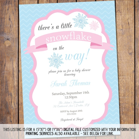 snowflake baby shower invitation winter baby shower invite snowflakes
