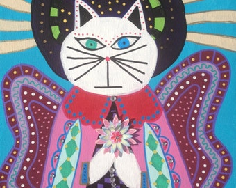 Kerri Ambrosino Mexican Folk Art PRINT White Cat Angel Praying Wings Halo Cross Spiritual