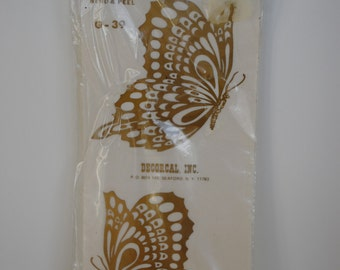 Vintage BUTTERFLY GOLD DECAL 1970's Seen From Both Sides