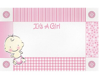 """50 """"It's a Girl"""" Baby Pink Florist Blank Enclosure Cards Small Tags Crafts (Free Shipping!)"""