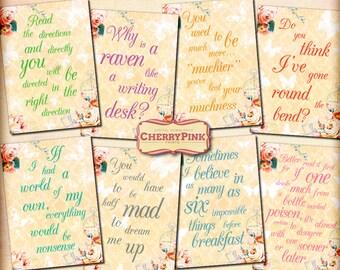 ALICE in WONDERLAND QUOTES, Wonderland decoration party supplies, Alice in wonderland digital collage sheet