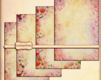Collage sheet SHABBY FLOWERS PINK shabby grunge scrapbook supply, instant download