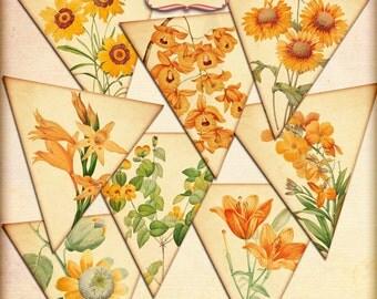 Orange Flower Bunting, orange flower printable bunting, digital download, digital bunting party supplies