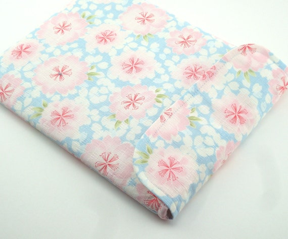 SALE ipad case, iPad 3 Sleeve, iPad Cover, Padded Tablet case Flap Closure Japanese Kimono cotton fabric cherry blossoms pale blue