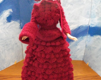 Barbie wearing a Crocheted 1800s Winter Carriage Outfit