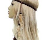 Free Spirit Hippie headband with striped natural feathers