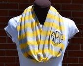 Monogrammed Infinity Scarf  Yellow and Gray Stripe Knit Jersey