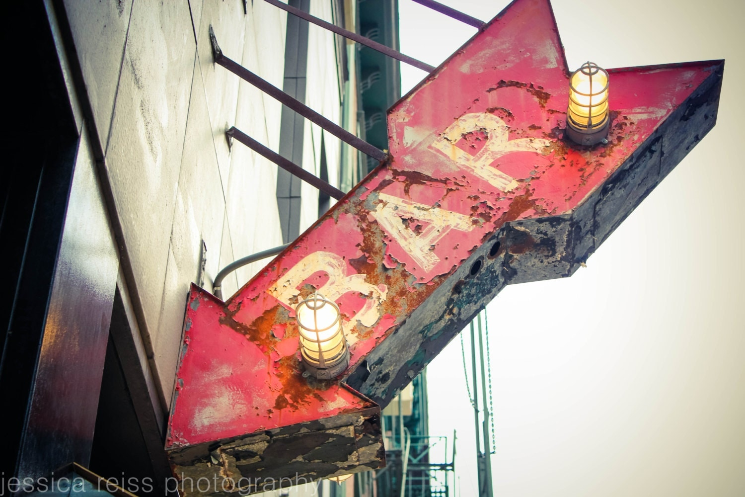 Red bar sign art print decor photograph vintage rustic