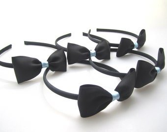 Set of 5 - Black Headbands With Black Satin Bows -Alice in Wonderland Party Favors