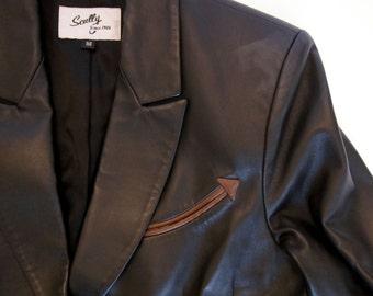 Black Leather Jacket by Scully Western Jacket Blazer - Women's Size Medium