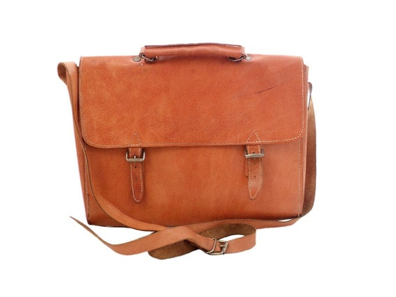 Vintage Tan Leather Satchel Messenger Bag School Bag Cross