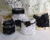 Lacy Votive Jars, Set Of 4,   Black, White, Cream