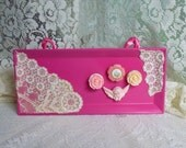 Magnetic Board Set, Shabby Chic Fuschia Lace And Flowers
