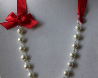 Ivory Pearl and Red Ribbon Bow Necklace