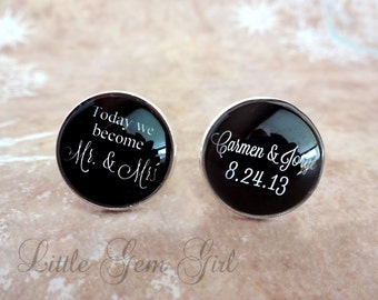 Groom Cuff Links - Custom Name & Wedding Date Cufflinks - Today We Become Mr. and Mrs. Personalized for Groom - Sterling Silver or Stainless