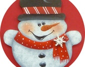 Snowman Pin/Magnet Snowflake Candy Cane Red Hand Painted Wood