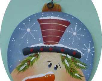 Snowman Ornament Red Hat  Hand Painted Wood