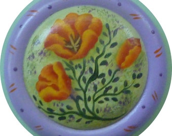Poppy Flower Button Pin/ Magnet Summer Hand Painted Wood