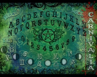Modern Witch Ouija style Talking-board, Spiritboard, Witchboard, in Moss colors, with pentacle, moonphases and astrology