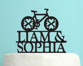 Wedding Cake Topper - Personalized Bicycle Cake Topper -  Custom Names Wedding Cake Topper - Custom Colors -Peachwik Cake Topper - PT0022