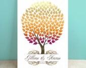 Autumn Guest Book Canvas - Wedding Guest Book Alternative -Seaswik- Peachwik Interactive Gallery Wrapped Canvas - 175 guests Wedding Tree