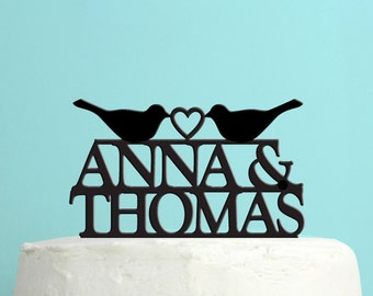 Wedding Cake Topper - Personalized Love Birds Cake Topper -  Custom Names Wedding Cake Topper - Peachwik Cake Topper - PT19