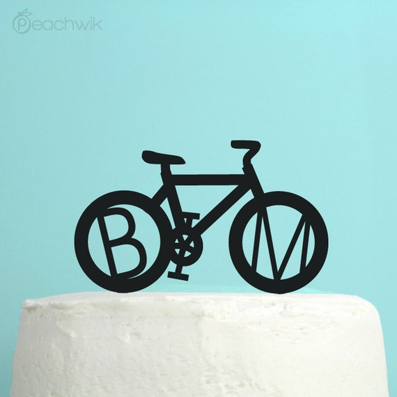 bicycle wedding cake topper uk personalized wedding cake topper bicycle monogram by peachwik 11736