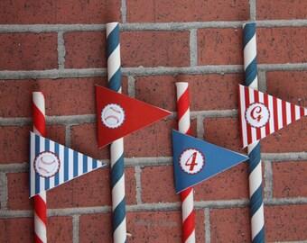 Baseball Party Printable Straw Flag Tags