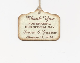 PERSONALIZED Thank you  -Wedding or Favor tags-Shower or Gift tags-Hang Tags