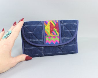 Vintage Indigo Wallet / Embroidered Boho Fabric Billfold / Colorful Coin Purse