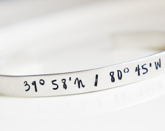 Personalized Cuff Bangle Bracelet Sterling Silver Latitude Longitude Coordinates Going Away Graduation Gift for Her