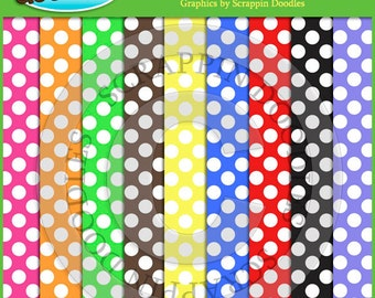 White Polka Dots on Colored Backgrounds