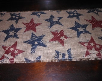 STARS Burlap Table Runner, Handmade, Sewing, Home and Living