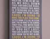 Typographic Personalized CANVAS Art, (song lyrics, wedding song, first dance song, favorite poem) in yellow & grey, custom colors