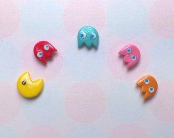 Pacman Earrings - mix & match set of 5 - Hand sculpted