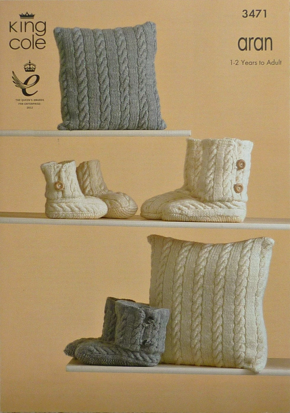 Cushion Knitting Pattern K3471 Childrens/Adults Hug Boot