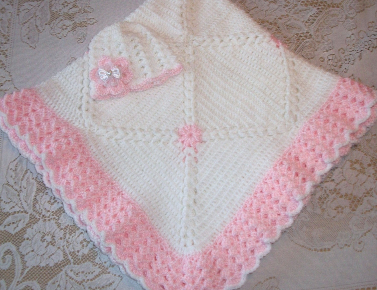 Crochet Baby Girl Blanket and Matching Hat Perfect Baby Shower