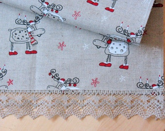 "Linen Table Runner Tablecloth Christmas Rudolph Reindeer Holiday Linen Lace 29.5"" x 18.5"""