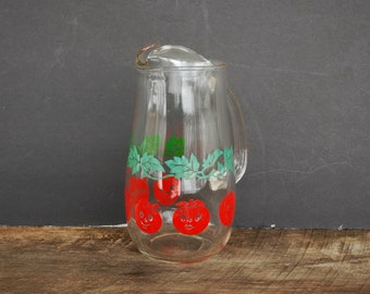Vintage Glass Pitcher Half Smiling Happy Tomato