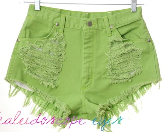 Vintage Wrangler Lime Green Denim High Waist DESTROYED Trashed Cut Off Shorts M